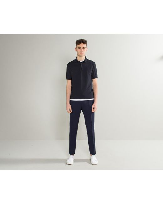 Emporio Armani - Blue Waffle-knit Stretch Jersey Polo Navy for Men - Lyst