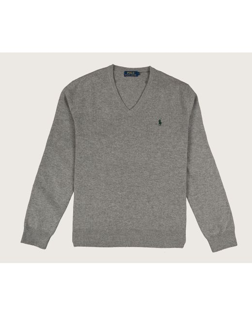 Ralph Lauren - Gray Classic V-neck Merino Knit Fawn Grey Heather for Men - Lyst