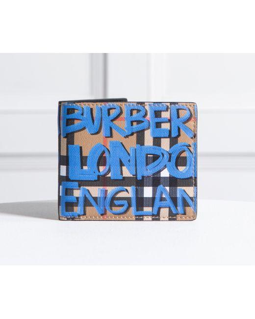 Burberry - Graffiti Print Vintage Check Bifold Wallet Blue - Lyst