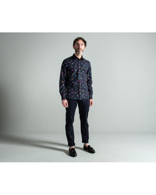 Paul Smith - Blue 'soho' Print Shirt With 'artist Stripe' Cuff Lining Navy for Men - Lyst