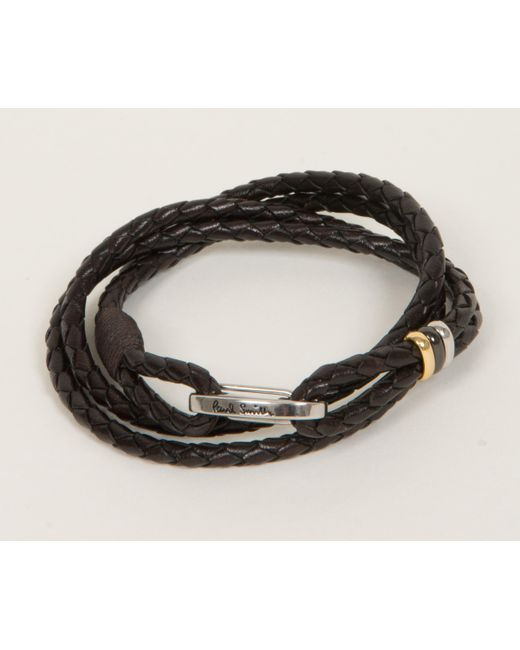Paul Smith - Brown Woven Leather Bracelet Chocolate - Lyst