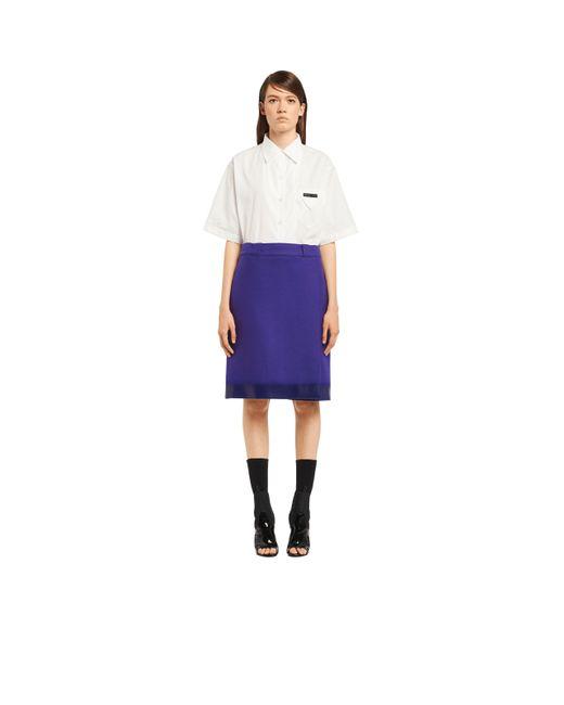 Prada - Blue Rubberized Cloth Wraparound Skirt - Lyst