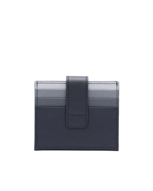 902c10856d1a ... Prada - Blue Saffiano Leather Card Holder for Men - Lyst ...