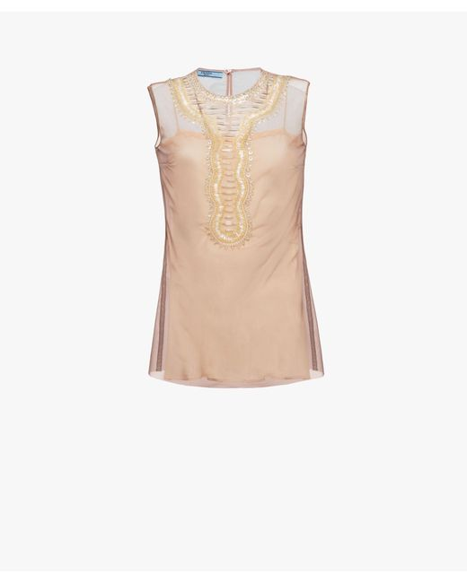 Prada - Natural Embroidered Tulle Top - Lyst