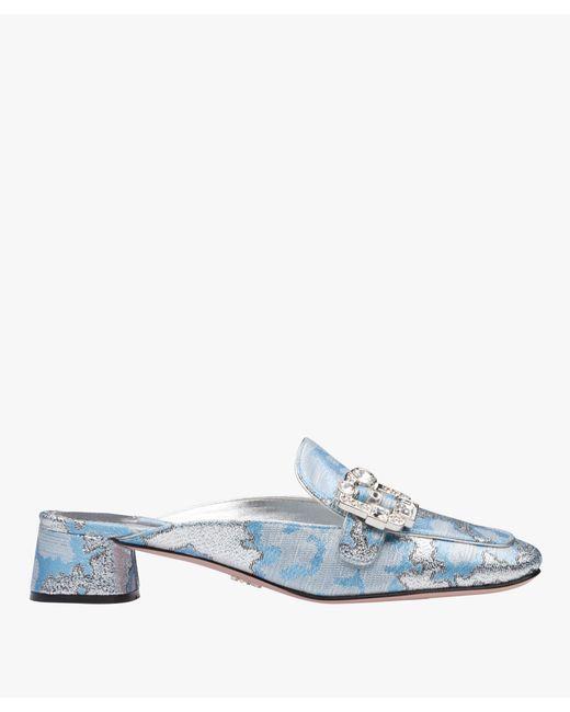 Prada - Blue Jacquard Moccasin Mules - Lyst