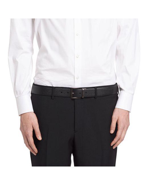 Prada - Multicolor Saffiano Cuir Leather Reversible Belt for Men - Lyst