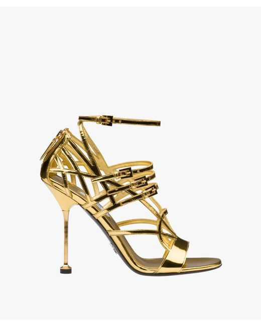 Prada - Metallic Laminated Kid Leather Sandals - Lyst