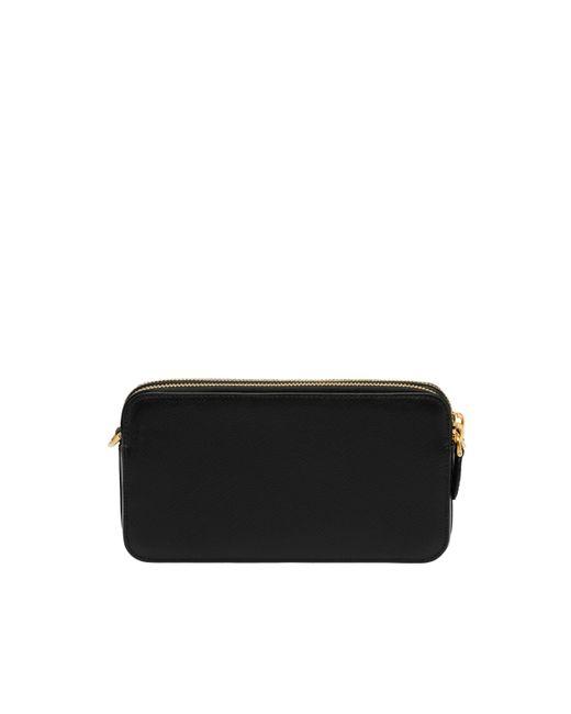 22a997b6140c ... Prada - Black Saffiano Leather Mini Shoulder Bag - Lyst ...