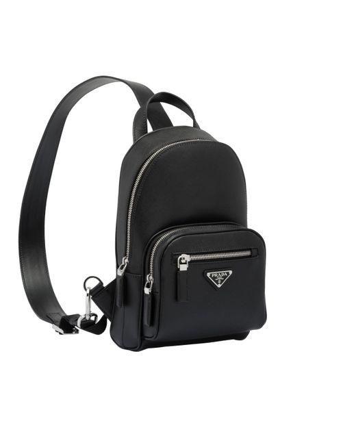 ffe50616d5aa ... Prada - Black Saffiano One Shoulder Backpack for Men - Lyst ...