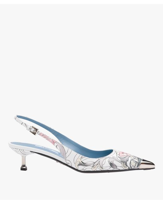 Prada - Blue Printed Leather Pointy Toe Slingback Pumps - Lyst