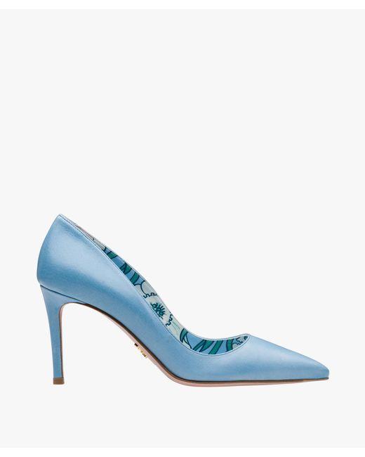 Prada - Blue Calf Leather Pointy Toe Pumps - Lyst