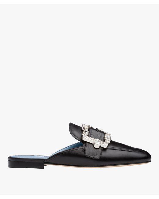 Prada - Black Leather Mules With Crystal Embellishment - Lyst
