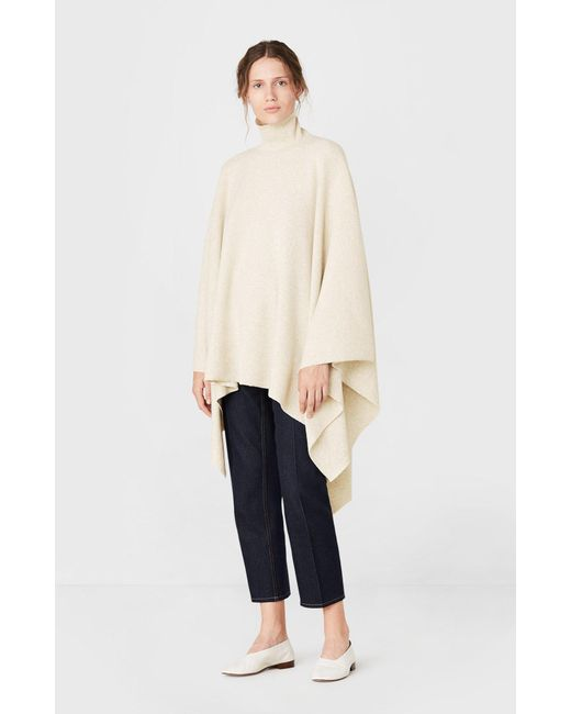 Pringle of Scotland - Natural Roll Neck Poncho In Oatmeal - Lyst