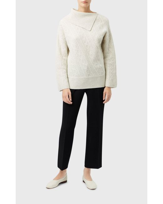 Pringle of Scotland - Multicolor Roll Neck Cable Stitch Jumper In Oatmeal - Lyst