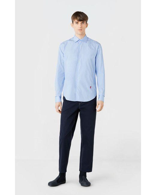 c5afb959 Pringle of Scotland - Cotton Poplin Shirt In Sky Blue for Men - Lyst ...