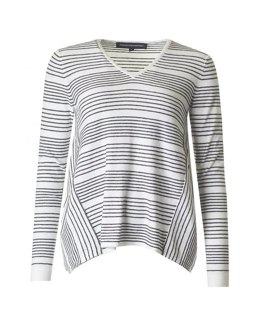 French Connection - White Pinstripe Crochet Oversize Knit - Lyst