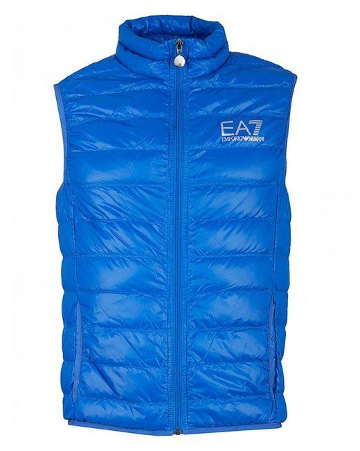 EA7 - Blue Packaway Gilet for Men - Lyst