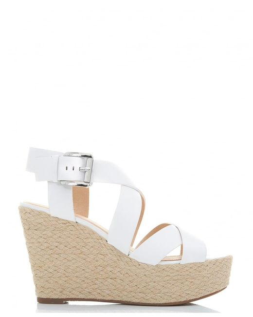 michael kors celia straw leather wedge sandals in white lyst