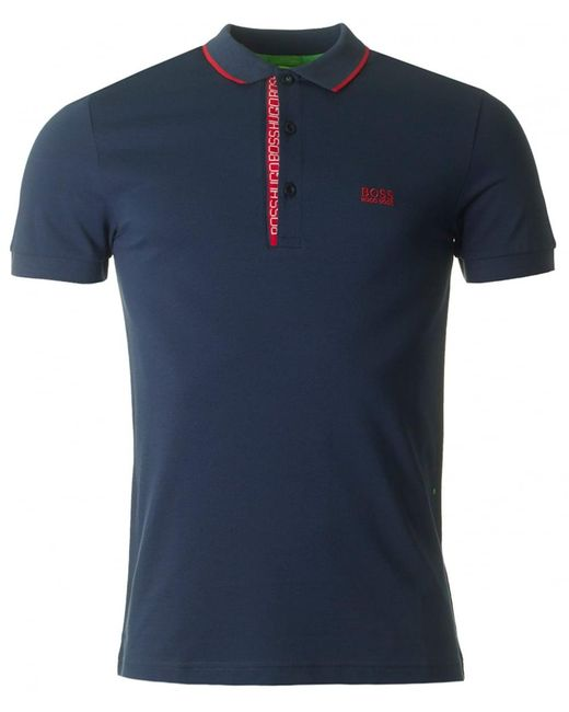 BOSS Athleisure - Blue Paule 4 Placket Logo Polo for Men - Lyst