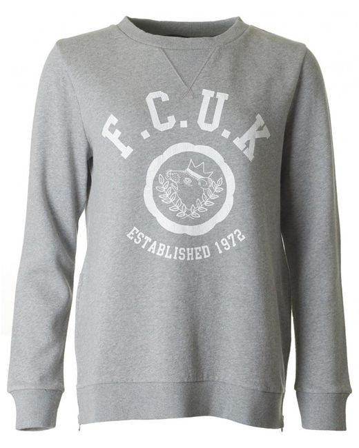 French Connection | Gray Zip Side Logo Sweatshirt | Lyst