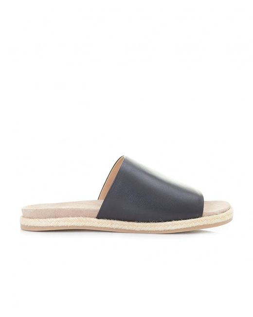 Joules - Black Leather Espadrille Sliders - Lyst