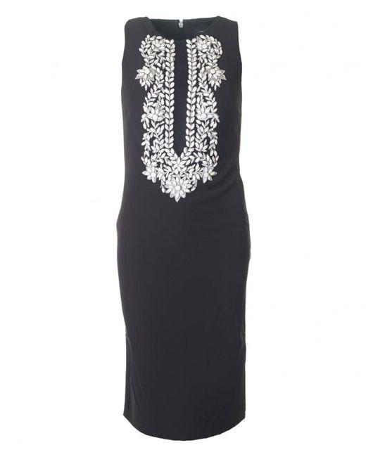Forever Unique - Black Embellished Front Shift Dress - Lyst