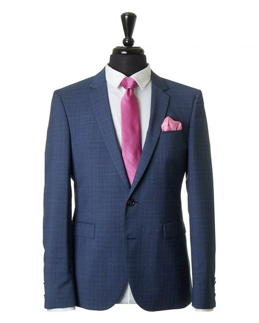 HUGO - Blue Phil Taylor Prince Of Wales Check Suit for Men - Lyst