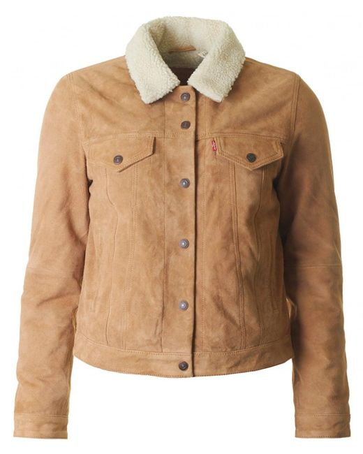 Levi's - Brown Suede Sherpa Trucker Jacket - Lyst