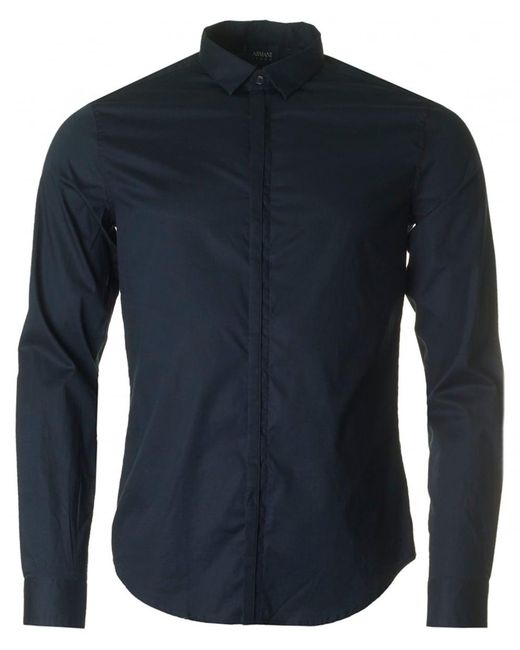 Armani | Blue Long Sleeved Concealed Placket Shirt for Men | Lyst