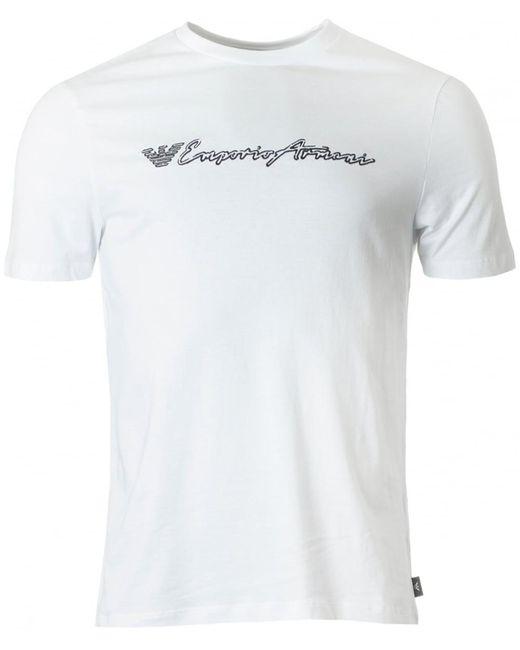 Emporio Armani - White Script Logo Crew Neck for Men - Lyst