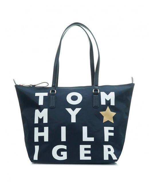 Tommy Hilfiger - Blue Poppy Logo Nylon Tote Bag - Lyst