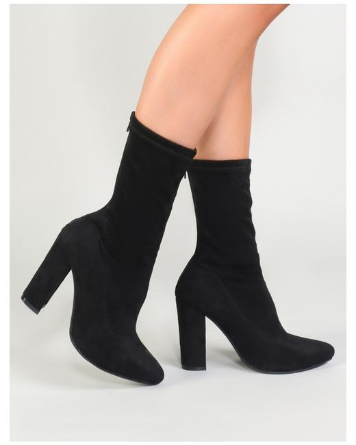 Public Desire - Montreal Sock Fit Ankle Boots In Black Faux Suede - Lyst