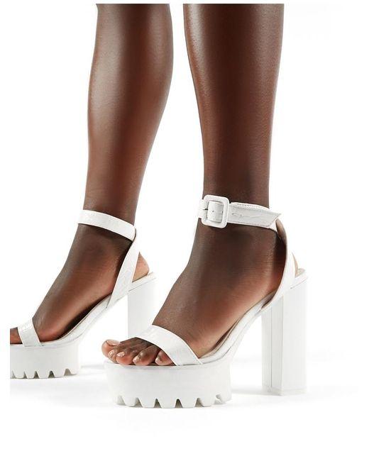 5c8ce48f06d Public Desire - Deja Vu Cleated Platform Block Heels In White Croc - Lyst  ...