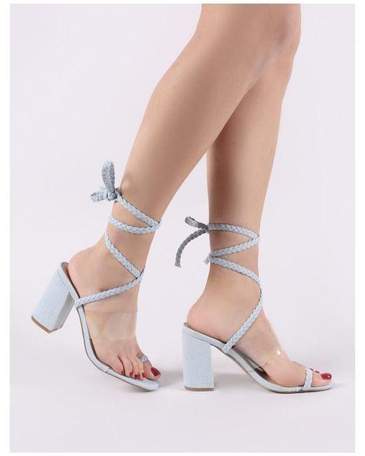 0aa74309e26 ... Public Desire - Multicolor Mia Lace Up Block Heeled Sandals In  Lightwash Denim - Lyst ...