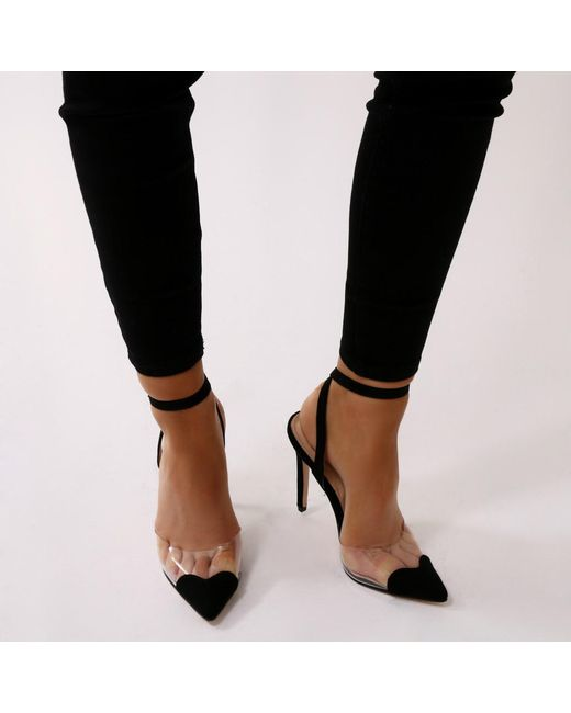 Public Desire - Heartthrob Heart Court Heels In Black Faux Suede - Lyst