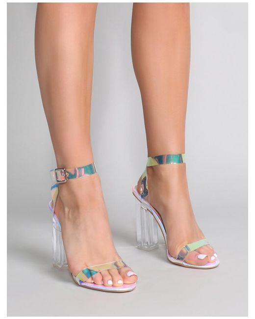 4d8c1d6232c Public Desire - Multicolor Alia Strappy Perspex High Heels In Iridescent -  Lyst .