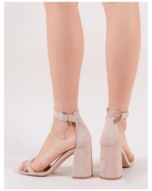 b6c872b4f2f ... Public Desire - Multicolor Grier Block Heel Barely Theres In Nude Faux  Suede - Lyst ...
