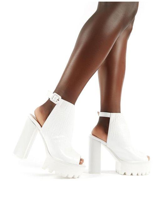 d7f4463dd9c ... Public Desire - Jada Cleated Platform Block Heels In White Croc - Lyst  ...