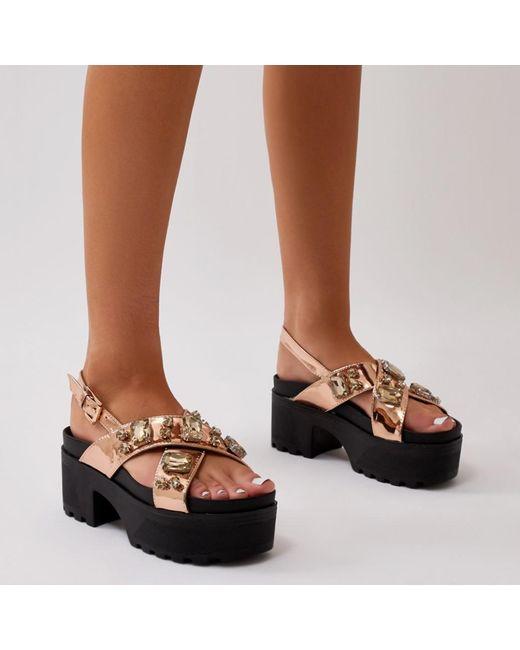 Public Desire Ethereal Flatform Sandal in Rose L338mIS5H