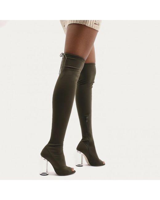 Public Desire - Multicolor London Perspex Flare Heel Long Boots In Khaki Sock Fit - Lyst