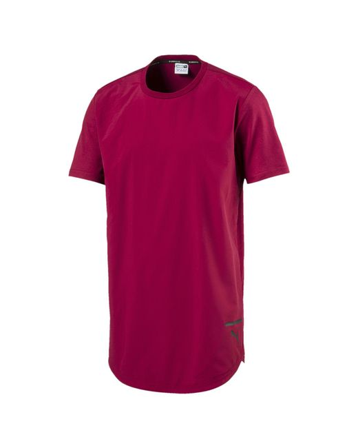 PUMA - Red Evolution Long T-shirt for Men - Lyst