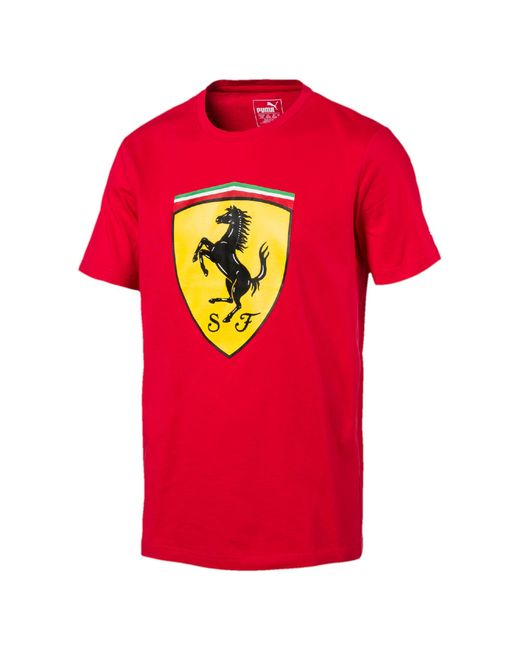 Puma Ferrari Big Shield T-shirt in Red for Men
