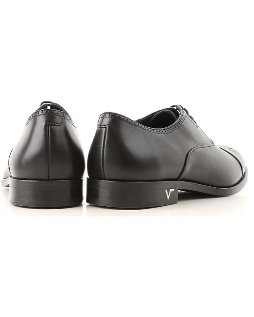 147d22bf04 ... Versace - Black Lace Up Shoes For Men Oxfords for Men - Lyst ...