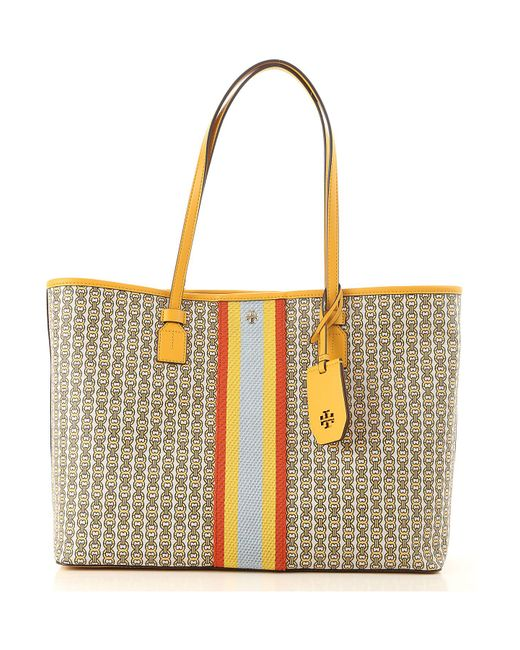 b924282e4db Lyst - Tory Burch Gemini Link Canvas Tote Bag in Yellow - Save 30%