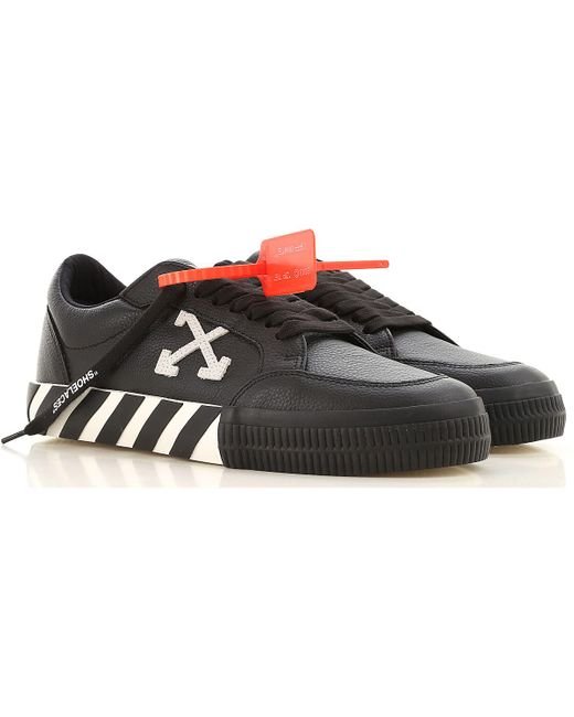 Off-White c/o Virgil Abloh Black Low Vulcanized Leather Sneakers for men