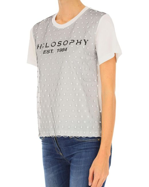 2e2b6013f26 ... Philosophy Di Lorenzo Serafini - White T-shirt For Women On Sale - Lyst  ...