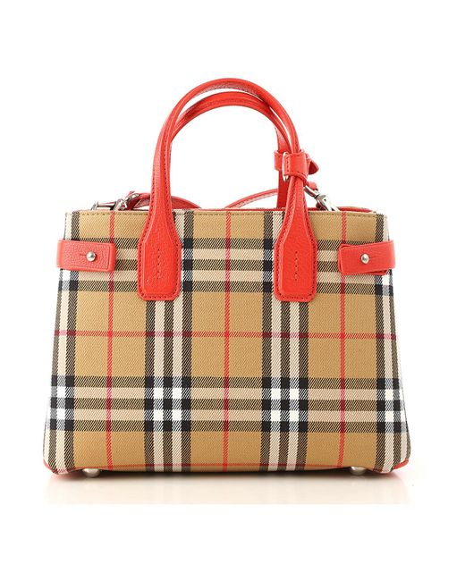 Burberry - Red The Small Banner In Vintage Check And Leather - Lyst