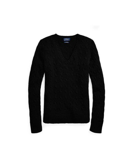 Polo Ralph Lauren - Black Cable Cashmere V-neck Sweater - Lyst