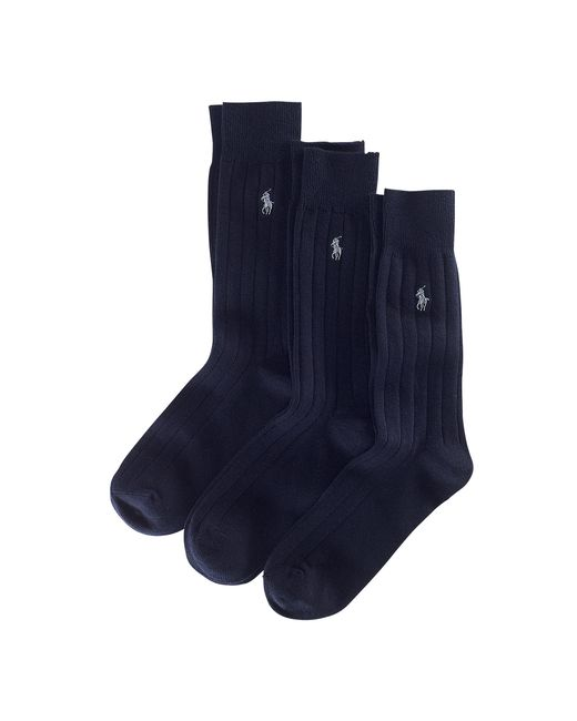 Polo Ralph Lauren | Blue Combed Cotton Rib Sock 3-pack for Men | Lyst