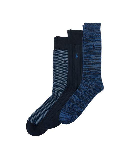 Polo Ralph Lauren - Blue Birdseye Trouser Sock 3-pack for Men - Lyst